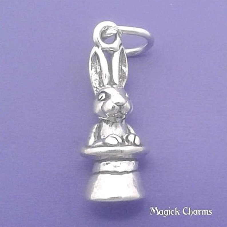 RABBIT In Magician Magic TOP HAT Charm .925 Sterling Silver image 0