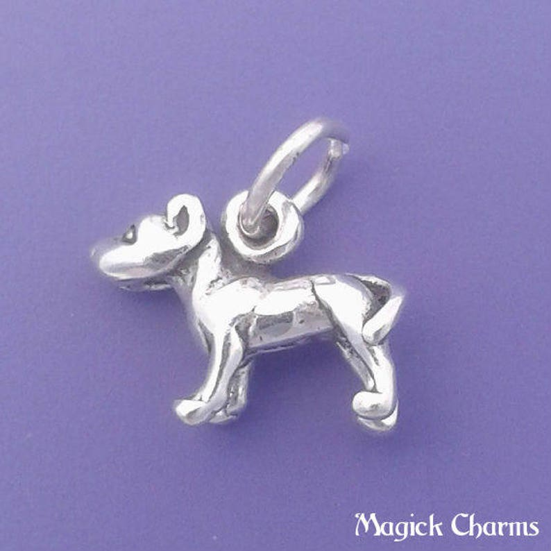 PITBULL Charm .925 Sterling Silver Pit Bull Miniature Small image 0