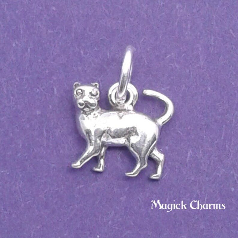 CAT or Kitten Charm .925 Sterling Silver MINIATURE Small  image 0