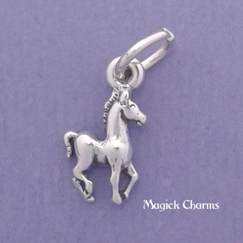 Tiny COLT Miniature Charm .925 Sterling Silver Baby Horse image 0