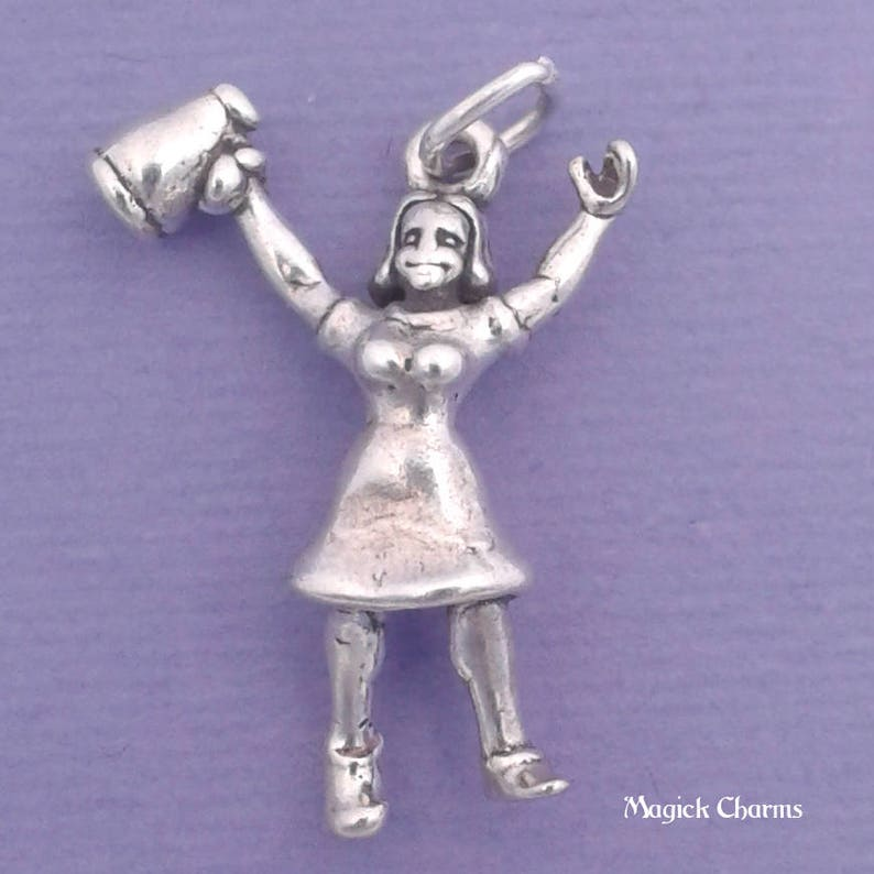 CHEERLEADER Charm .925 Sterling Silver With MEGAPHONE image 0