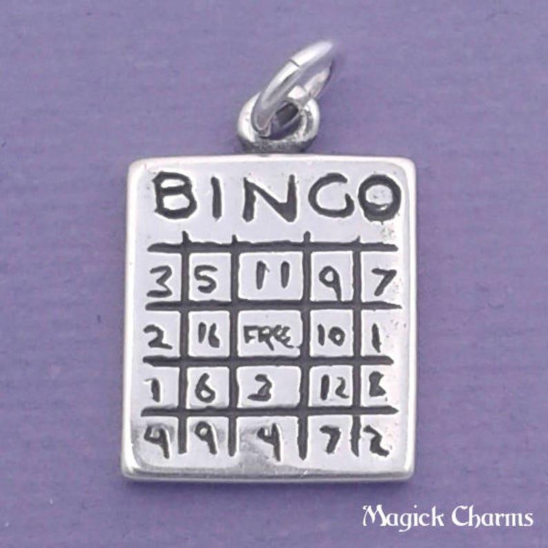 BINGO CARD Charm .925 Sterling Silver Bingo Game Bingo image 0