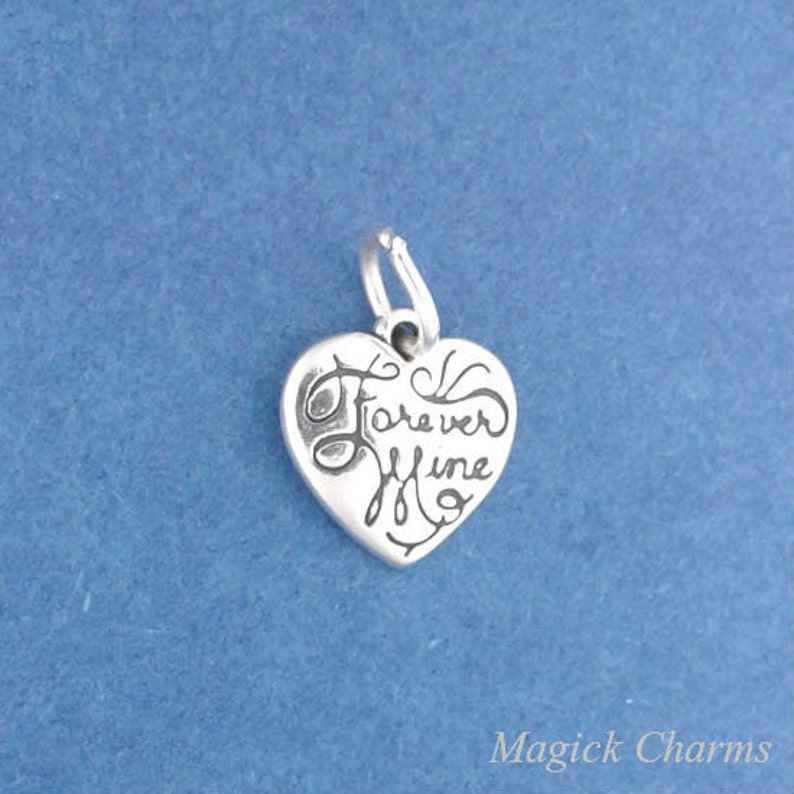 FOREVER MINE Heart .925 Sterling Silver Charm MINIATURE Small image 0