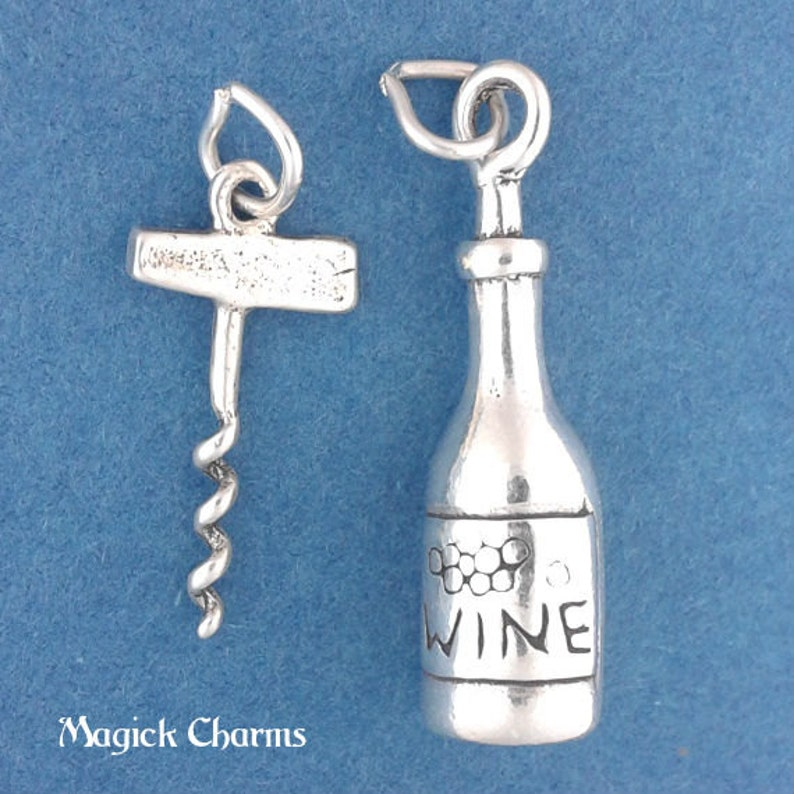 WINE Bottle and CORKSCREW Charm Set .925 Sterling Silver image 0