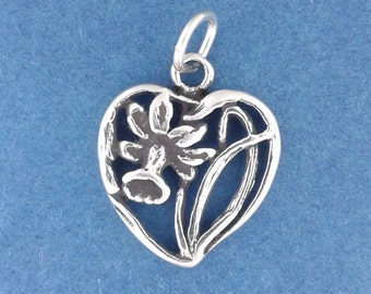 DAFFODIL HEART Charm .925 Sterling Silver Narcissus Flower Pendant - br191