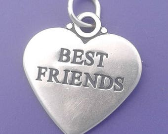 BEST FRIENDS HEART Charm .925 Sterling Silver Pendant - lp3345