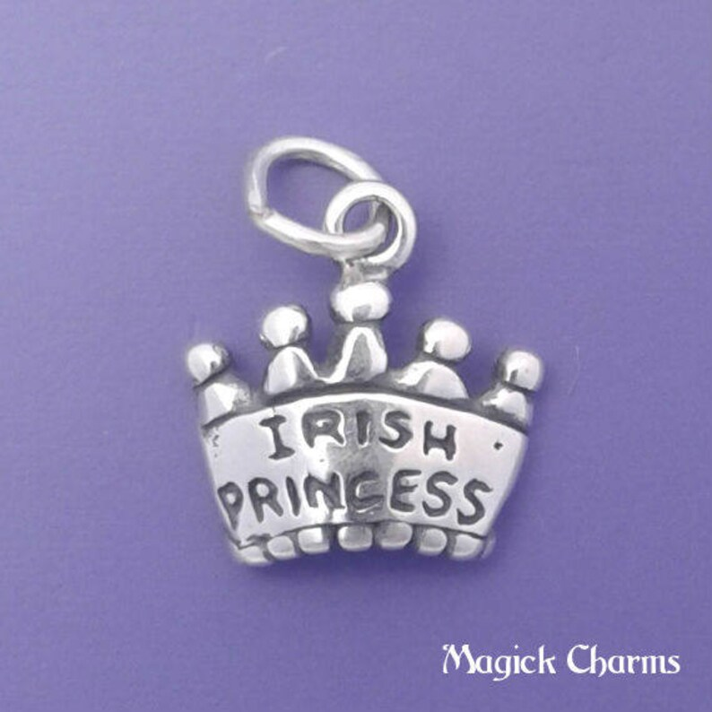 IRISH PRINCESS Crown Charm .925 Sterling Silver Pendant  image 0