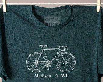 Madison tshirt, Madison Wisconsin tee shirt, Wisconsin tshirt, Wisconsin state tee, Madison bike tee