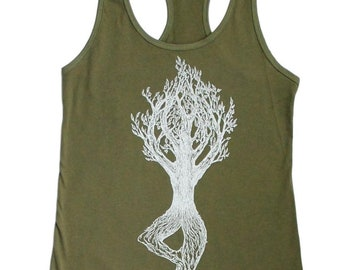Yoga Womens Tank Top - Olive Green Top - Yoga Tree Pose - Beach Tank Tops - Racerback Tank Top - Graphic Tank - Yoga Tanks - Yoga Exercise