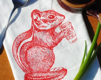 Red Chipmunk Flour Sack Tea Towel - Funny Kitchen Towels - Coffee Drinking Towel - Cup Towels - Woodland Animal Towels - Coffee Drinker Gift