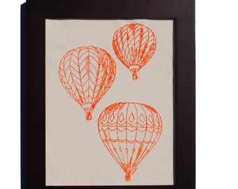 Hot Air Balloon Kitchen Wall Art - Cotton Canvas Print - Orange Screen Print - Unique Wedding Gift for Couple - Unique Housewarming Gift