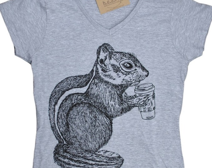 Womens V Neck T Shirts - Womens Tshirt - Chipmunk T Shirt - Womens Animal Tee - Funny TShirts - Hipster Tee Gift for Women - Womens T Shirts