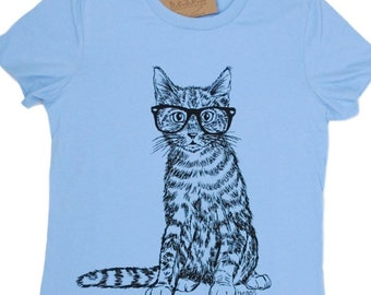 Funny Tshirts for Women | Hipster Cat Tees | Nerdy TShirt | Short Sleeve | Graphic Tees for Women | Geek Cat Tee Shirts | Womens Tee Shirts