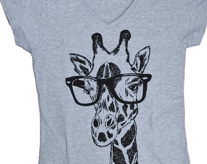 Funny Tshirts Women - V Neck - Hipster Giraffe Tee - Funny Womens Tee - Fashion TShirts - Grey Tee Shirt - Gift for Women