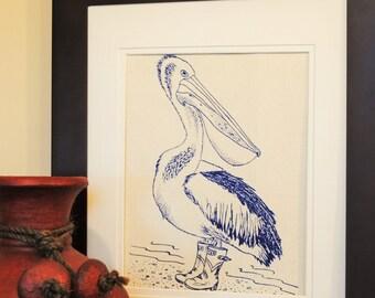 Nautical Kitchen Wall Decor - Pelican Wall Art - Nautical Prints for Nursery -Pelican Prints -Blue Prints -House Gift -Wedding Registry Idea