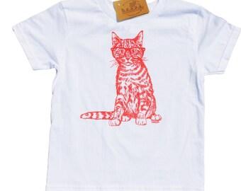 Screen Printed Girls T Shirts - Hipster Kids Clothes - Pink Cat - Kitten T Shirt - Toddler T Shirt - Pink T Shirt - Girl Toddler Tees