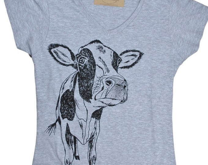 T Shirts for Women | V Neck Womens Shirt | Cow T Shirt | Womens Graphic Tee | Funny Womens TShirts | Womens Tee Shirts |Funny Tees for Women