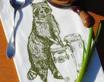 Flour Sack Tea Towel - Screen Printed Raccoon - Cotton Animal Tea Towels - Woodland Theme - Olive Green Towels