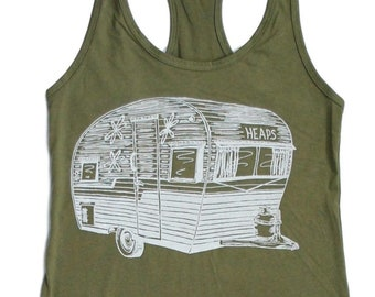 Womens Tank Top - Olive Green Tank Top - Travel Trailer Tank Top - Camping Tank Tops - Trailer Top - Camping Shirt - Travel Tank Tops