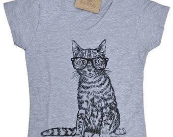 Womens V Neck T Shirts - Womens T shirt - Cat T Shirt - Womens Cat Tee - Funny TShirts - Animal Tshirts - Gift for Women - Funny Womens Tee