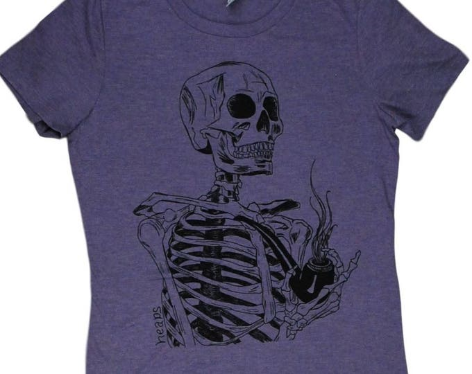 Pipe Smoking Shirt - Pipe Smoker Gift - Smoking Tshirt - Smoker Gift - Pipe Shirt - Skeleton Shirt - Womens Retro Tshirt - Womens Tee Shirts