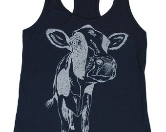 Womens Tank Top - Hippie Tank Tops - Printed Tank Tops - Cow Tank Top - Graphic Tanks - Summer Tanks - Indigo Blue Tank Top for Women