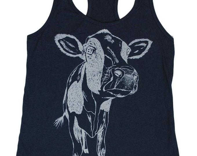 Womens Tank Top - Hippie Tank Tops - Printed Tank Tops - Cow Tank Top - Graphic Tanks - Summer Tanks - Indigo Blue Tank Top for Women