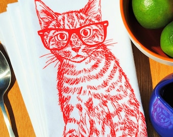 Red Cat Cotton Napkins Set - Cat Themed Gifts - Wedding Place Setting - Unique Wedding Gifts - Cat Print Gift - Present for Best Friend