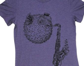 Graphic T Shirts for Women - Blowfish Tshirt for Woman - Womens Funny Tshirt - Cool Womens Tops - Purple Womens Tee - Cute Trendy Clothes