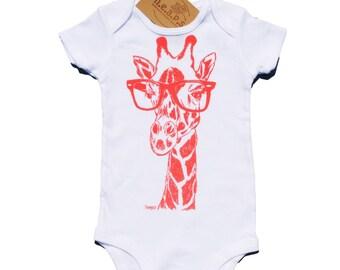 Coral Giraffe Baby Bodysuit - Baby Shower Gift - New Mom Gift - Giraffe Hipster Glasses - Baby Girl One Piece - Pink