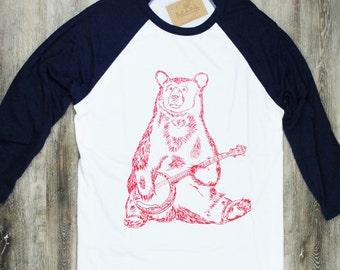 Womens TShirt - Baseball T Shirt - Banjo Bear Tee - Womens Baseball Tee - Womens Animal Tshirt - Bear Tshirt - Womens Tees - Crew Neck Tees
