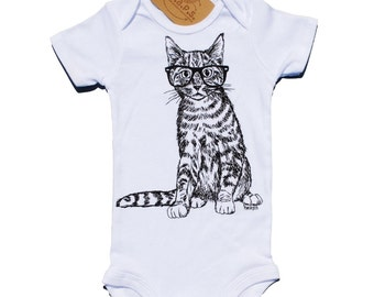 Kitten Baby One Piece - Hipster Glasses on Cat - Baby Shower Gift Idea - Unique New Mom Gift - Whimsical Baby Girls or Boys Layette