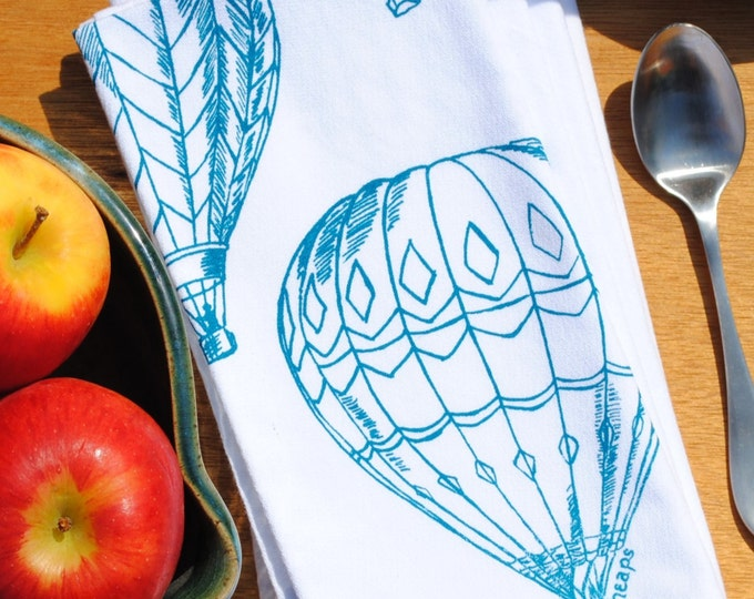 Teal Hot Air Balloons Napkins - Screen Printed Napkins Set of 4 - Unique Table Setting - Unique House Warming Gift or Wedding Gift