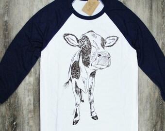 Womens TShirt - Unisex Cow Tee - Womens Baseball Tees - Animal Tshirts - Farm Animals - Baseball Tshirt for Women or Men - Gift for Women