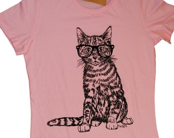 Womens TShirts - Cat Tee Shirt - Animal T Shirt - Cat with Glasses Pink Tees - Pink Tshirt - Pink Womans Shirt - Pink Clothes - Funny Tshirt