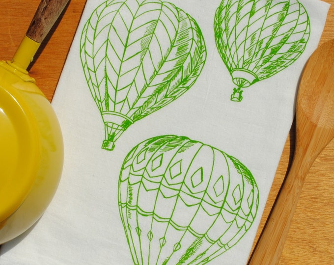 Green Hot Air Balloons Flour Sack Tea Towel - Screen Printed - Absorbent Cotton Towel for Dishes  - Vintage Linens - Hand Dish Towel