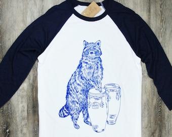 Unisex Baseball T Shirt - Men or Womens Baseball Tee - Conga Playing Racoon Tee - Screen Print - Hipster Baseball Tee - Animal Geek T-shirt