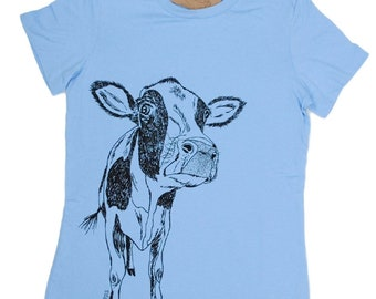Womens T Shirt - Cow TShirt -  Graphic Tee Shirt for Woman - Screen Print - Short Sleeve - Animal T-shirt - Graphic Tees S M L XL 2XL