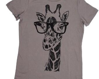 Womens T Shirt | Hipster Clothing | Graphic Tee | Giraffe Tee | Printed Hipster TShirt | Short Sleeve Geek T-shirt Giraffe T Shirt Ladies