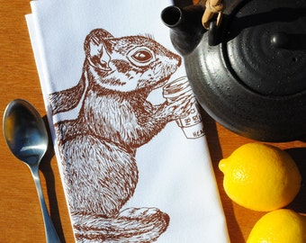 Dinner Napkins - Screen Printed Cotton - Chestnut Chipmunk Drinking Coffee - Cotton Table Napkin - Washable Reusable - Unique Gift