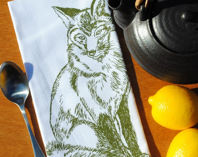 Cloth Dinner Napkins - Screen Printed Cotton Cloth Napkins - Olive Green Fox Woodland Animal Theme - Unique Housewarming Gifts