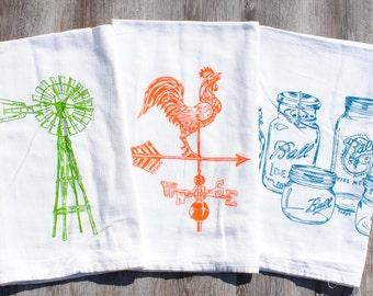 Rustic Tea Towels - Set of 3 - Farm Kitchen - Farmhouse Decor - Country Kitchen - Country Dish Towels - Farm Towels - Windmill Weathervane