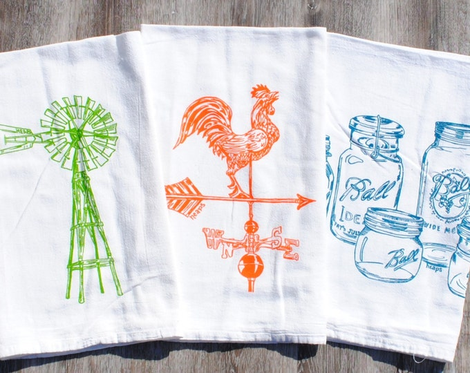 Rustic Tea Towels - Set of 3 - Farm Kitchen - Farmhouse Decor - Country Kitchen - Country Dish Towels - Farm Towels - Windmill Weathervane