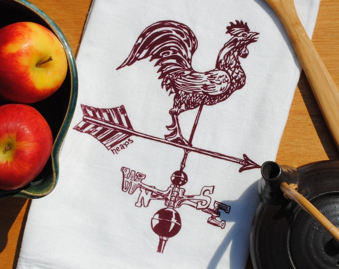 Rooster Weathervane Tea Towel - Hand Screen Printed - Cotton - Towel is Perfect for Dishes - Rustic Hand Towels - Country Cottage Linens