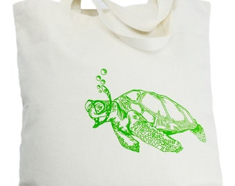 Oversized Canvas Tote Bag - Screen Printed Bag - Green Sea Turtle Tote Bag - Cotton Handbag - Beach Bag Wedding Mothers Day Anniversary Gift
