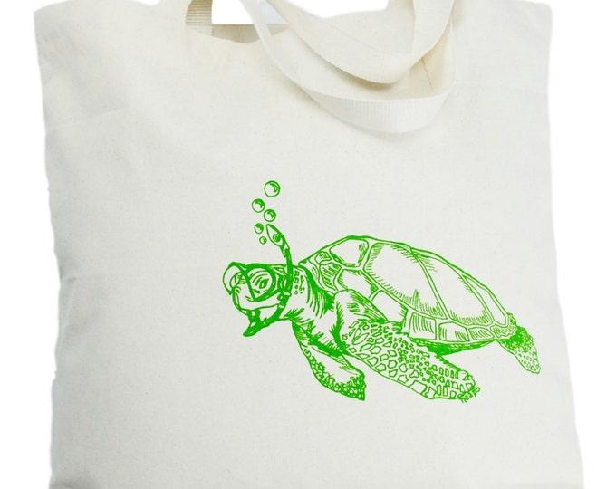Oversized Canvas Tote Bag - Screen Printed Bag - Green Sea Turtle Tote Bag - Cotton Handbag - Beach Bag Wedding Mothers Day Anniversary Gift