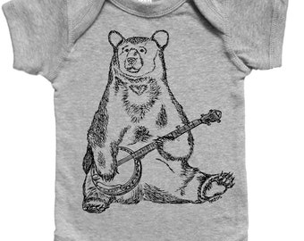 Banjo Bear Baby Boy One Piece - Funny Baby One Piece - Hipster Baby Boy Clothes - Infant Boy Outfits - Funny Baby Clothes - Jumper Creeper