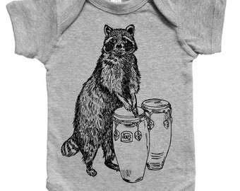 Raccoon Baby Romper - Funny Baby One Piece - Unique Baby Shower Gift - New Mom Gift Idea - Gifts for Baby Boys or Girls - Baby Bodysuite