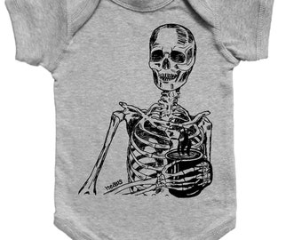 Skeleton Baby One Piece - Boy Romper - Jumper - Baby Clothes - New Mom Gift - Baby Shower Gift - Infant Girl - Infant Boy - Printed