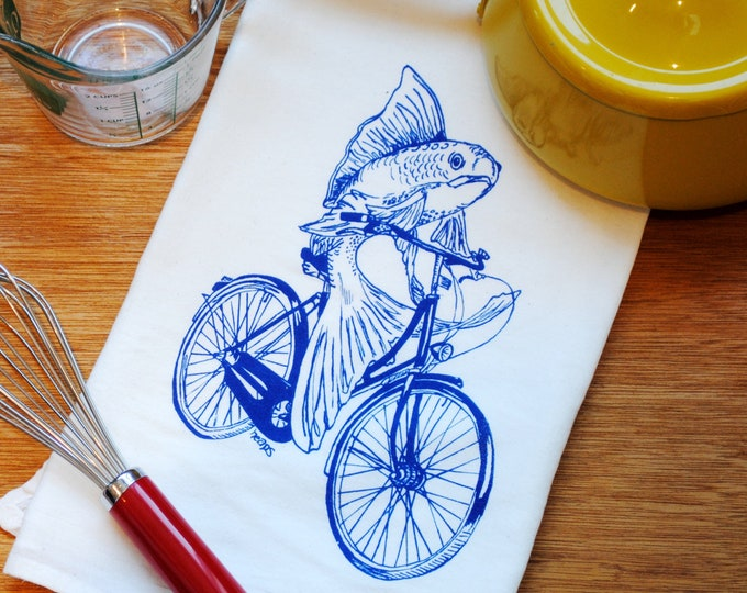 Kitchen Towel  - Funny Towels - Flour Sack Cloth Towel - Teal Towel Cup Towel Hand Towel Tea Towels - Screen Printed Blue Fish On A Bicycle